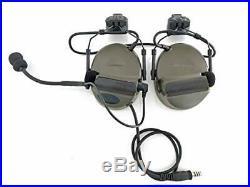 Closed-Ear Electronic Hearing Protection Earmuffs & Communication Headset Green