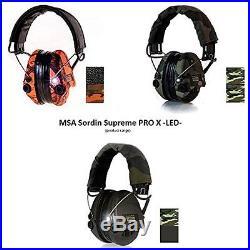 MSA Earmuffs Sordin Supreme Pro With LED Light Electronic EarMuff Camo-band, Gel