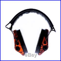 MSA Sordin Supreme Pro X LED Electronic EarMuff black leather orange camo cups