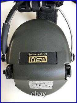 MSA Supreme Pro-X, with custom One Shot brand headband cover & Gel Ear seals