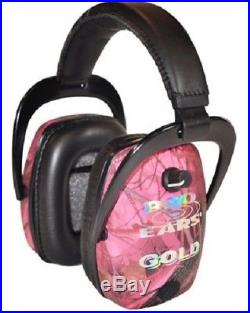 NEW Pro Ears GS-DPS-PC PINK CAMO Slim Gold NRR 28 Protective Electronic Ear Muff