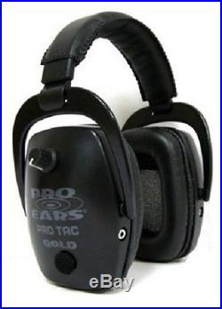 NEW Pro Ears GS-PTS-L-B BLACK Tac Slim Gold NRR 28 Electronic Ear Muffs Lithium