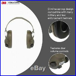 Peltor 3M Tactical 6-S Slim Line Electronic Headset With Audio Input Jack, Olive