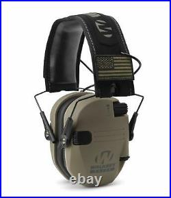 Walker039s Razor Slim Electronic Shooting Muffs 3-Pack, FDE American Flag 3