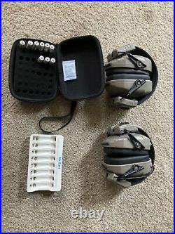 Walker electronic ear muff Two Pairs + Rechargeable Batteries + Case
