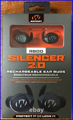 Walkers GWP-SLCRRC2 Silencer 2.0 Rechargeable 24 DB Black Ear Muffs R600 New